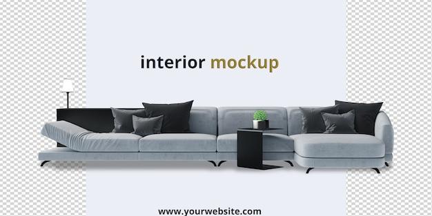 Mockup di divano e pianta nel rendering 3d