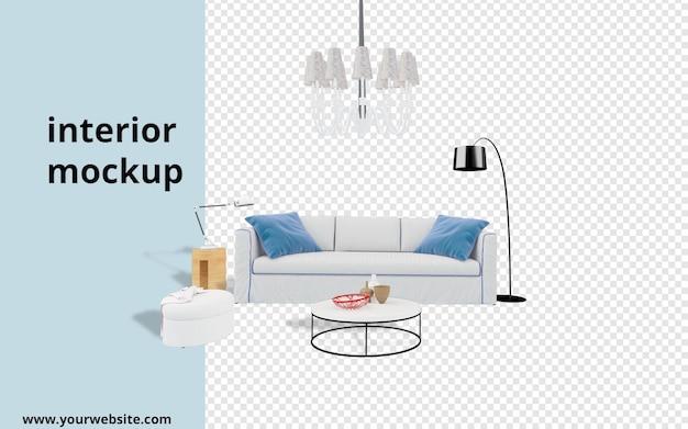 Divano con lampada e scrivania mockup in rendering 3d