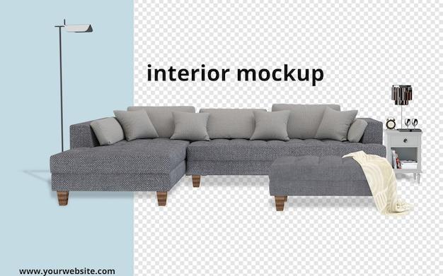 Divano con mockup di lampada in rendering 3d