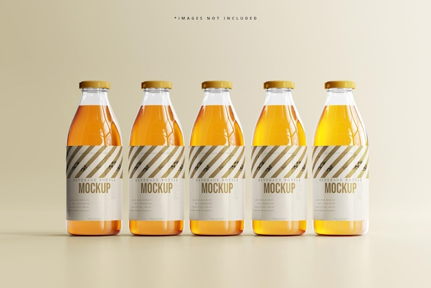 Mockup di bottiglia per bevande in vetro per bibite analcoliche