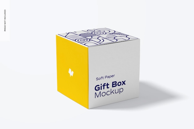 Mockup di scatola regalo in carta morbida