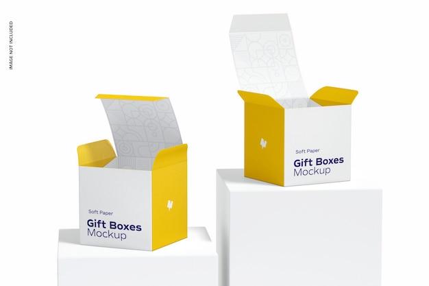 Mockup di scatole regalo in carta morbida, vista frontale