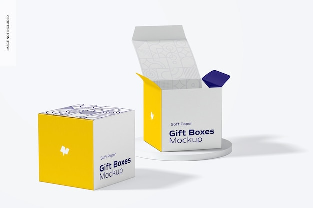 Mockup di scatole regalo in carta morbida