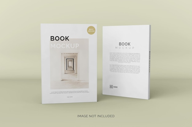 Mockup di libro con copertina morbida vista anteriore e posteriore