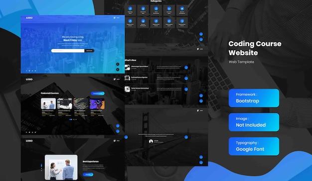 Software e codifica del modello di sito web della pagina di destinazione del corso online in modalità oscura