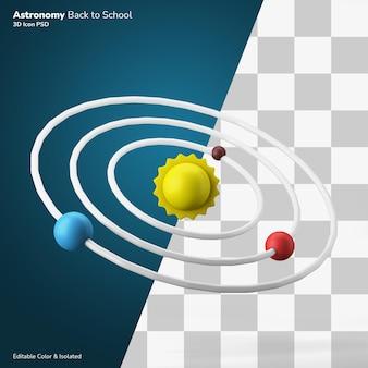 Simbolo della classe di fisica dell'astronomia del sistema solare icona rendering 3d modificabile isolato