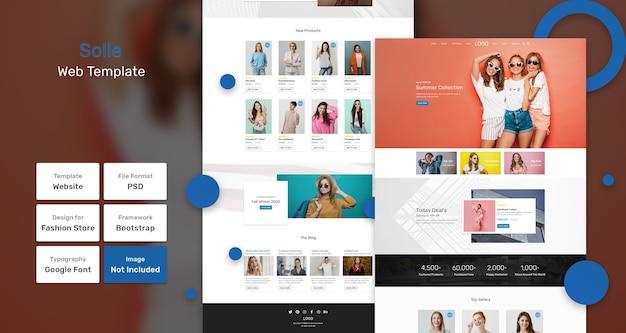 Modello web del negozio di moda solle Psd Premium