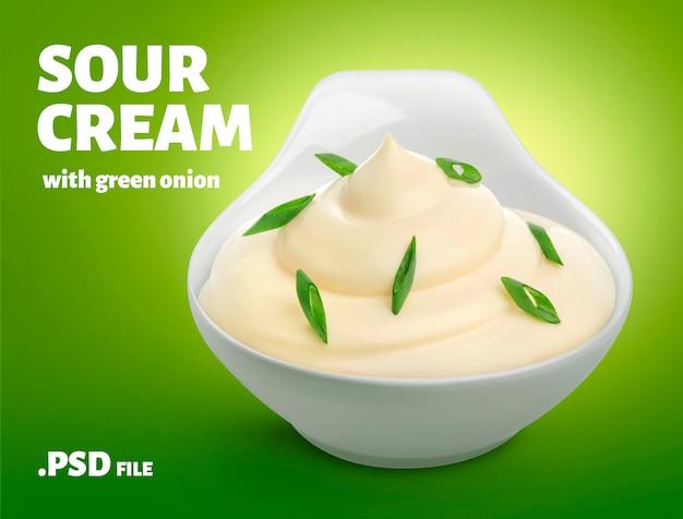 Panna acida con striscione di cipolla verde