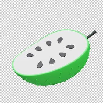 Illustrazione 3d di soursop