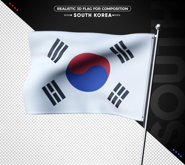Bandiera strutturata 3d della corea del sud per la composizione