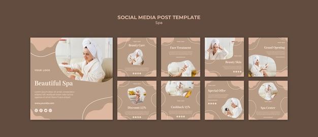 Modello di post social media concetto spa