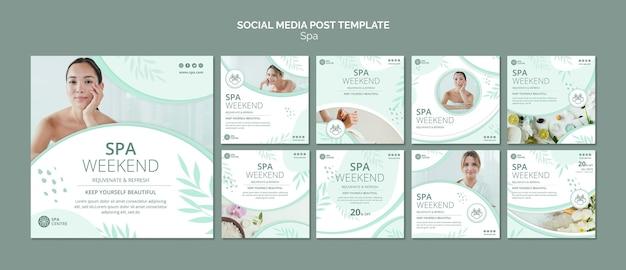 Modello di post sui social media per il fine settimana termale