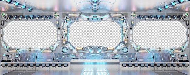 Interno della cabina di pilotaggio dell'astronave con finestra isolata