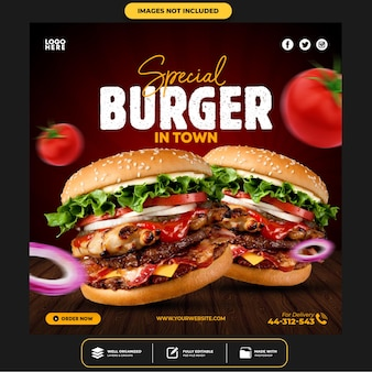 Modello speciale di instagram per post sui social media di burger