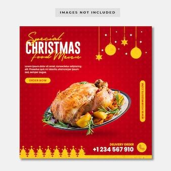 Modello di post instagram per menu speciale di cibo natalizio