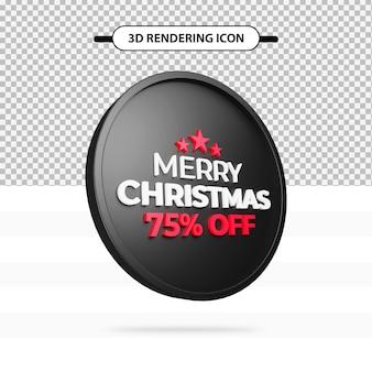 Offerta speciale di buon natale con il 75% di sconto sull'icona del rendering 3d