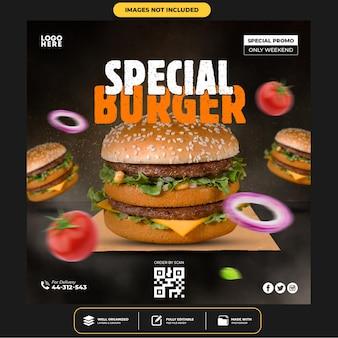 Modello di post sui social media per hamburger speciali deliziosi