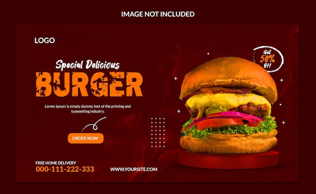 Disegno del modello di banner web speciale delizioso hamburger