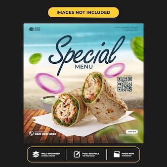 Modello di post banner per social media cibo delizioso speciale