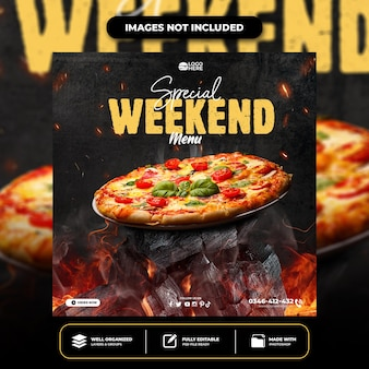 Modello di post sui social media per pizza deliziosa speciale