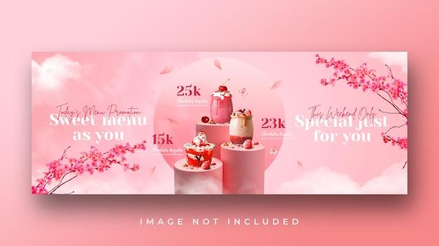 Modello di banner di copertina di facebook promozione menu di bevande speciali