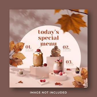 Modello di banner post instagram di social media di promozione di menu di bevande speciali