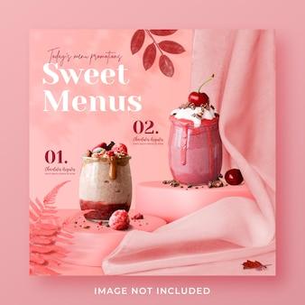 Modello di banner post di instagram di social media di promozione del menu di bevande speciali