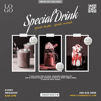 Menu di bevande speciali promozione social media instagram post banner template