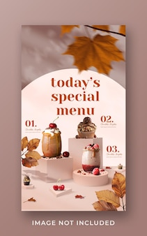 Modello di banner di storia di instagram di social media di promozione di menu di bevande speciali