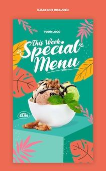 Modello di banner di storia di instagram di social media di promozione di menu di cibo speciale