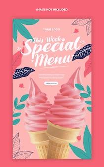 Modello speciale dell'insegna della storia di instagram dei social media di promozione del menu del gelato
