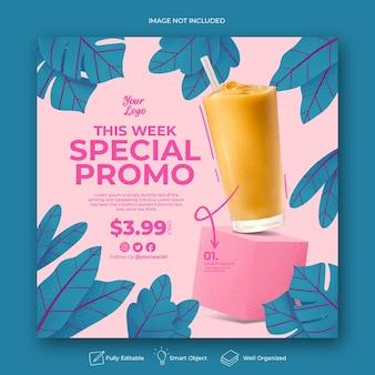 Menu speciale promozione drink social media instagram post template