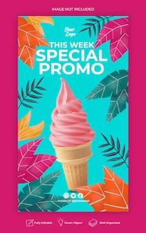 Modello di banner di storia di instagram di social media di promozione di menu speciale