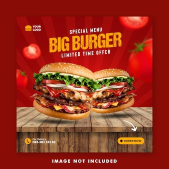 Menu speciale modello di banner post sui social media per la promozione del ristorante