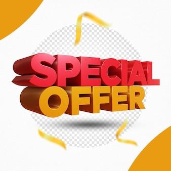 Offerta speciale 3d rendering design isolato
