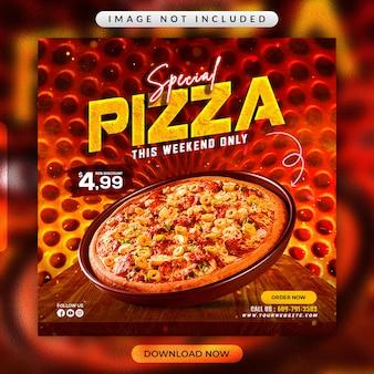 Modello di banner per social media speciale per pizza o ristorante
