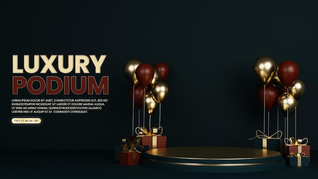 Speciale podio premium luxury con palloncino e confezione regalo