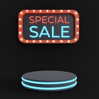 Podio di vendita speciale per il tuo prodotto con testo lampada al neon