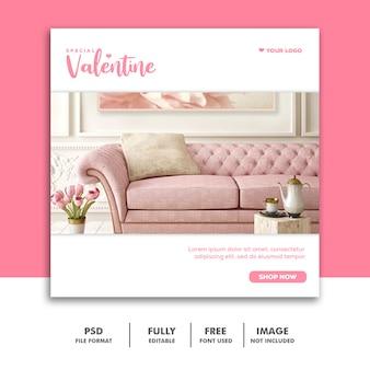 Vendita di mobili speciali di san valentino per post sui social media