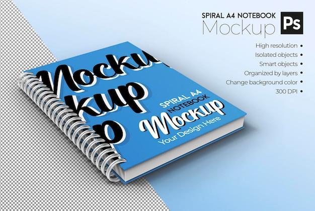 Spirale a4 notebook mockup vista isometrica