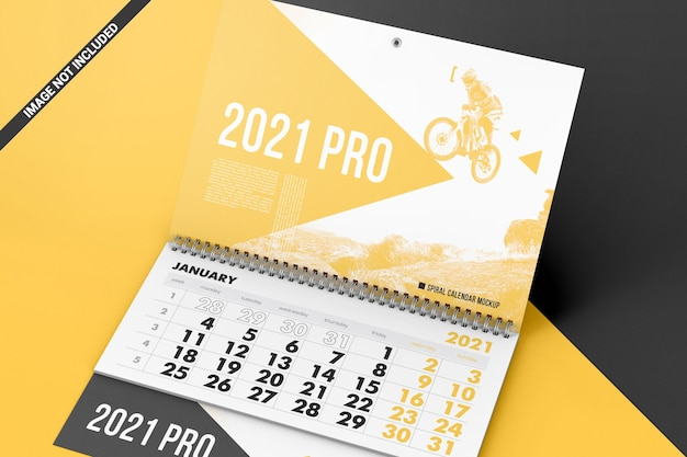 Calendario a spirale con mockup di fogli a strappo