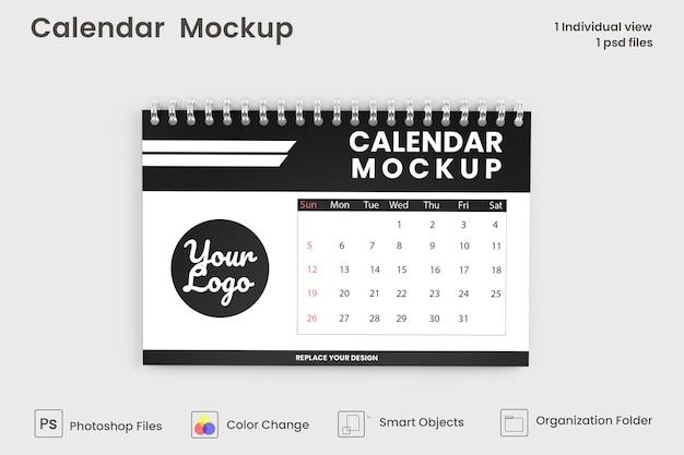 Design mockup calendario da tavolo a spirale