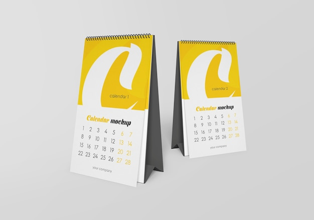 Calendario da tavolo a spirale con mockup di note isolato