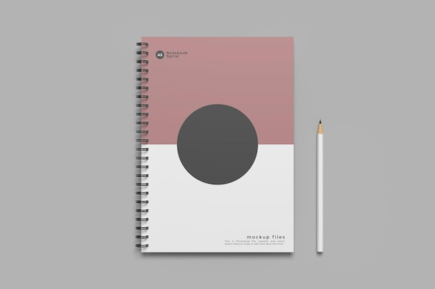 Design mockup notebook a spirale isolato