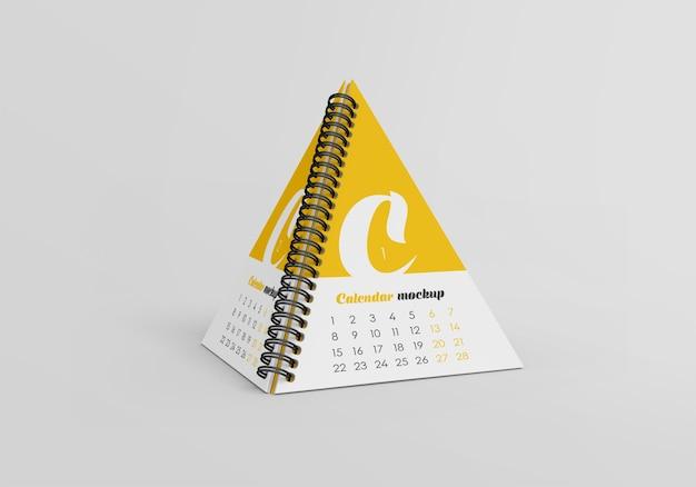 Mockup di calendario da tavolo piramide a spirale