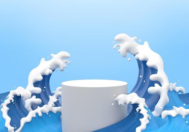 Spruzzata di acqua con il podio del cilindro nel rendering 3d