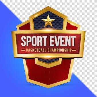 Evento sportivo con rendering 3d scudo isolato
