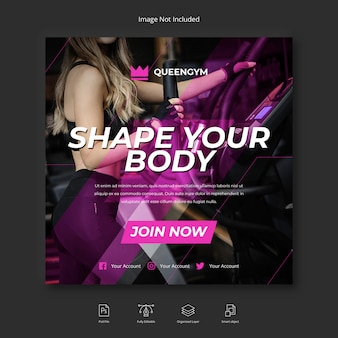 Sport fitness e palestra social media instagram post o modello di volantino quadrato