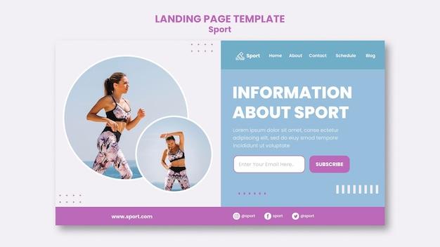 Modello di pagina di destinazione sportiva con foto Psd Premium