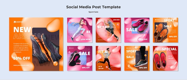 Modello di post sui social media di vendita di sport